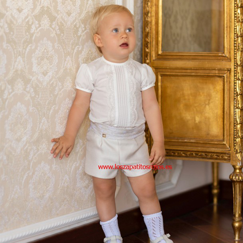 ed1f22e0d ... Conjunto Dolce Petit Camisa y Pantalón corto Brocado · Los Zapatitos  Rojos